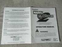 MARVEL VS CAPCOM 2  naomi capcom arcade game owners manual