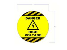 (10 Pack) High Voltage Stickers Round / Safety Decals with Arc Flash Graphic