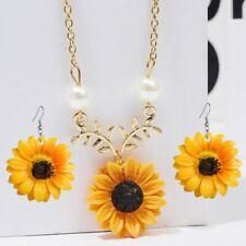Gold Colors Sunflower Hook Earrings Pearls Pendant Necklace Women Jewelry Set