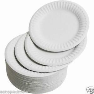 """Pack Of 100 White Disposable Paper Plates 9"""" / 23cm perfect for BBQ and parties"""