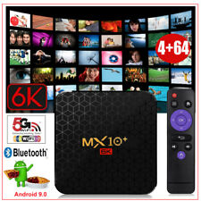 NEW MX10+ Android 9.0 Pie 4+64G Quad Core 6K Smart TV BOX Dual WIFI 3D Sports DE