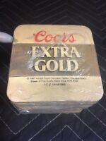 """NIP Vintage 1987 """"Coors EXTRA GOLD"""" Paper Coasters 100 ct. New Vintage Coors"""