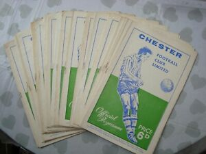 Full set of Chester City 1967-68 home programmes - 24 programmes in all