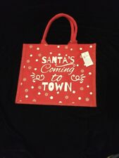2661649a7732 Tesco Santa Jute Tote Bag 2017 Red Dot Coming to Town Christmas Holiday Juco