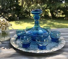 Alt Vintage 50er Likörset Karaffe 6 Gläser blau Golddekor Mid Century