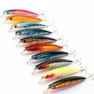 10pcs/lot Minnow Fishing Lure Crankbait 3D Artificial Baits Tackle Treble Hooks