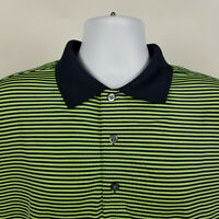 FJ FootJoy Black Green Striped Mens Adult Polo Shirt Size Large L