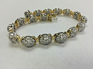 Diamond bracelet, 3.5+cttw of LG Diamonds, yellow gold plated ove silver,