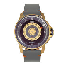 Reign Monarch Automatic Domed Sapphire Crystal Grey Leather Gold Watch RN5202