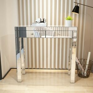 Mirrored Glass 2 Drawers Dressing Table Console Make-up Desk Vanity Bedroom