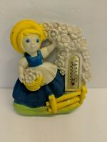 Vintage Plaster Dutch Girl Thermometer Wall Decor Blue & Yellow
