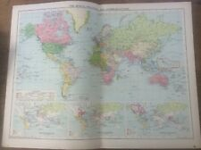 Vintage Antique 1939 Philips Map 20x15 The World Political & Communications