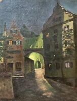 Stadtansicht Altstadt bei Nacht Anonym 28,5 x 22 cm Ölbild Süddeutschland