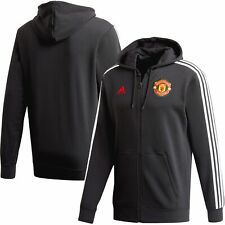 Manchester United adidas 3-Stripe Full-Zip Hoodie Jacket - Black