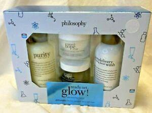 Philosophy 4 pc Gift set Ready Set Glow Purity Renewed Hope Microdelivery New