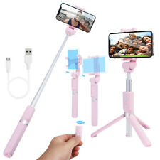 Foldable Bluetooth Selfie Stick Tripod Remote Control 360° Clamp for iPhone X S9 for Samsung Galaxy Note 8 Pink