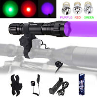 FB-501B Blue/Red/Green/UV/White LED Flashlight Hunting Torch 18650 Lamp