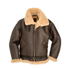 Men's Aviator RAF B3 Ginger Original Shearling Sheepskin Leather Bomber Jacket