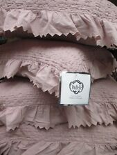 PiuBelle Shabby Dusty Blush Rose Pink Matelasse Ruffle Euro Pillow