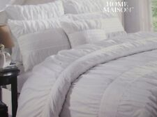 Hotel Platinum Edition Madyson Shabby White Embroidered Ruched Duvet Set - King