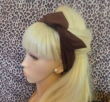 BROWN PLAIN COTTON BENDY WIRE HAIR WRAP WIRED SCARF HEADBAND 50S RETRO STYLE