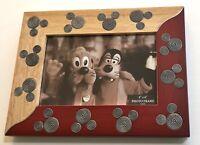 "Disney Theme Park Wooden 4"" x 6"" Photo Frame Mickey Mouse Swirl Head New NIB"