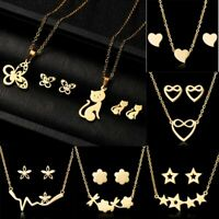 Stainless Steel Women Heart Cat Stars Gold Chain Necklace Earrings Jewelry Set