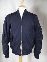 PacSun MEDIUM Navy Blue Bomber Military Flight Reverse Full Zip Pockets Jacket M