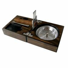 Wooden Cigar Ashtray Set with Cigar Cutter Foldable Ashtray for Cigar Gift