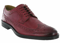 Burgundy Brogue Shoes Base London Leather Milton 5 Eye Mens Formal Lined Lace