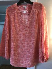 Joie Top Blouse Pre-owned Large Orange/Cream