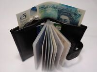 Soft Leather Credit Card Holder for 14 Cards with Space for Paper Money Black
