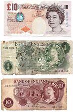 British £10 TEN POUNDS D.H.F.SOMERSET & £1 L K O'Brien & TEN SHILLING BANKNOTE