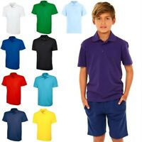 Ages 1-15 Plain Polo Shirt Short Sleeve Boys Girls P.E School Uniform 20 Colors