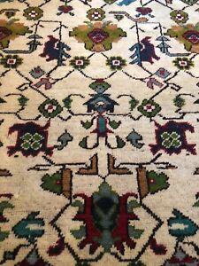 Antique Handmade Old Used Turkish Oushak Wool Small Rug Carpet Size:2.10Ft-2.10