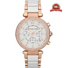 NEW MICHEAL KORS MK5774 PARKER 39MM WHITE DIAL ROSE GOLD LADIES WATCH UK
