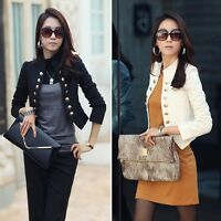 Ladies Double-breasted Coat  Long Sleeve Button Casual Blazer Women Suit Jacket