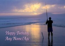 Personalised Fishing Angling Birthday Card + blank textured insert
