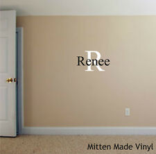 INITIAL AND NAME decal, personalized vinyl wall art for nursery or bedroom walls
