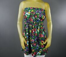 Forever 21 Stretch Floral Blouse Top Medium Strapless Shirt Polyester Casual A4