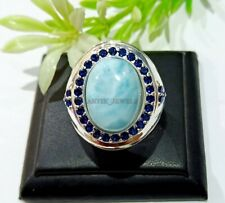 Natural Larimar & Zafiro Azul Piedra Con 925 Anillo Plata de Ley para Hombre