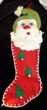 "Vintage 1950s Santa Felt Christmas Stocking 22"" *FROM MOVIE STAR ESTATE*"