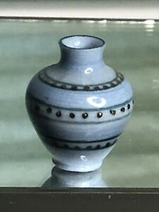 Dollhouse Miniature Artisan ML Porcelain Vase Hand painted Blue Gold Vessel