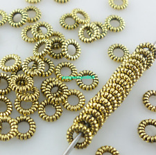 300pcs Ancient gold Small round ring Charm Spacer Beads 4mm