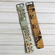 2 FOSSIL Watch Band Bracelets LEATHER Snap Strap Interchangeable JR-9090 JR-8699