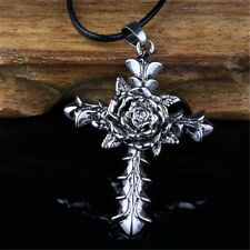 Fashion Women Silver Alloy Cross Rose Retro Pendant Necklace Charm Jewelry Gift