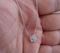 FINE 925 STERLING SILVER  CLUSTER NECKLACE  PENDANT W/ .50 DIAMONDS/18''