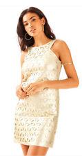 Lilly Pulitzer Mango Shift Dress Daisy Laser Cut Gold Metallic Size L