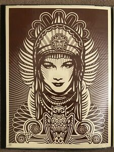 Shepard Fairey Peace Goddess Print Obey Giant Burgundy Signed ed of 150
