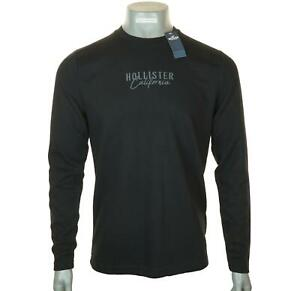 New Men's Embroidered Hollister Long Sleeve T Shirt Ribbed Textured M L Black